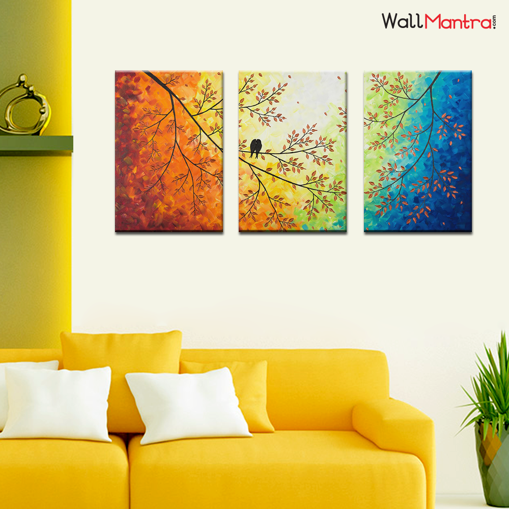 Colorful Painting Love Bird On A Branch Premium Quality Canvas Wall