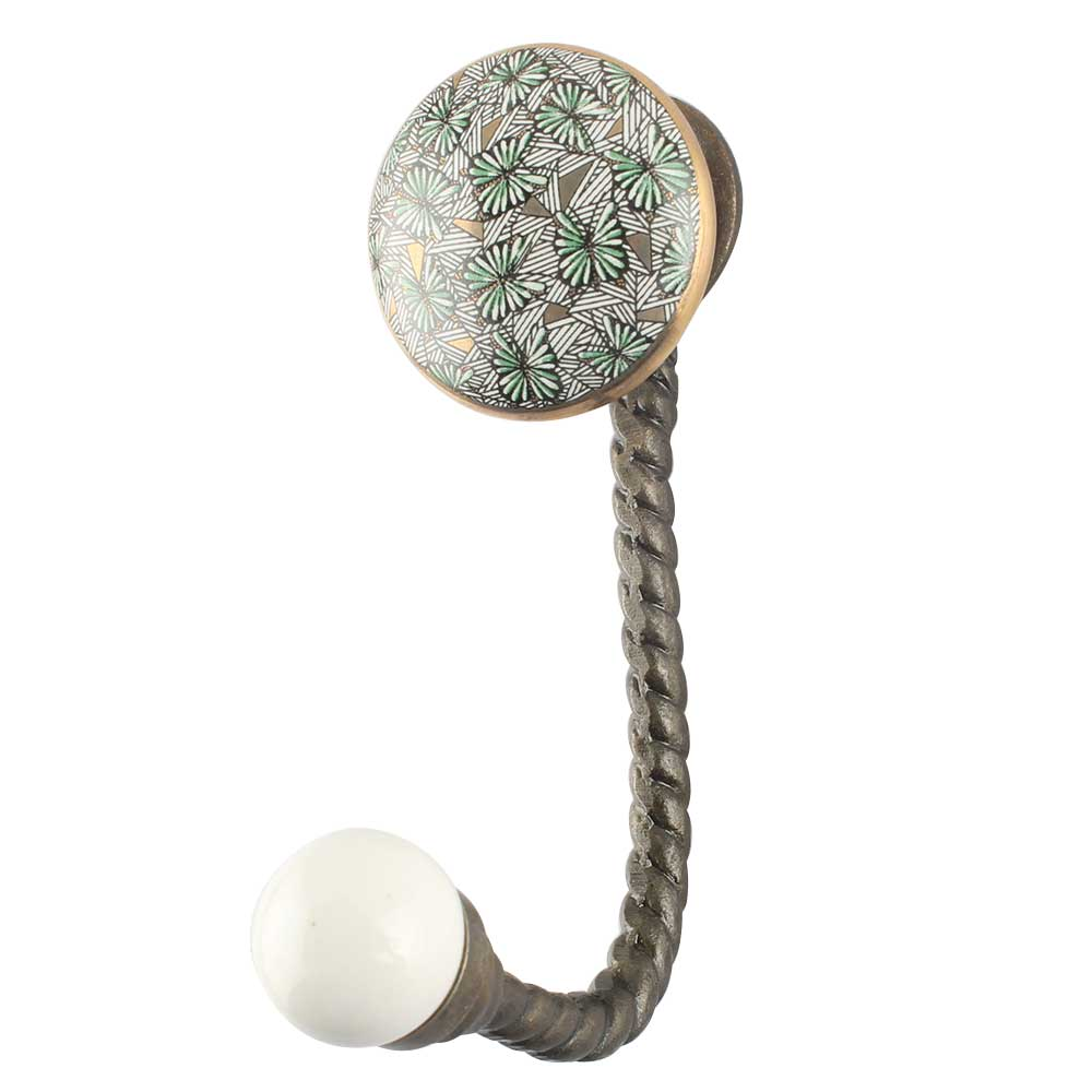 Green Ceramic Iron Wall Hook in Antique Fitting