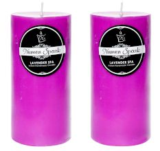 Set Of 2 Lavender Spa Solid Pillar Candle(3X6 Inches)