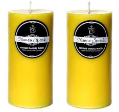 Set Of 2 Antique Sandalwood Solid Pillar Candle (3X6 Inches