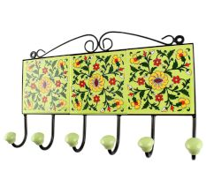 Pea Green Wheel Ceramic Floral Tile Hook Online