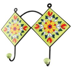 Sunflower Ceramic Tile Hook in Pea Green