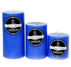 Set Of 3 Mountain Lake Solid Pillar Candle