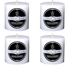 Set Of 4 Tropical Citronella Outdoor Pillar Candle