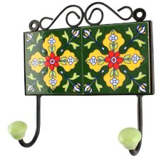 Yellow Floral Ceramic Tile wall Hook