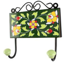 Pea Green Leaf Floral Ceramic Tile Hook