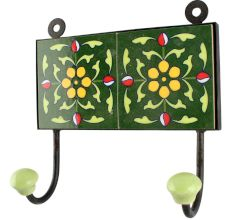 Forest Green Floral Ceramic Tile wall Hook