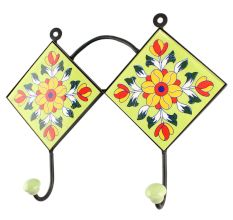 Pea Green Flower Ceramic Tile Wall Hook Online