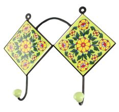 Pea Green Wheel Flower Ceramic Tile Wall Hook