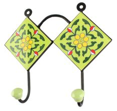 Pea Green Tiny Flower Ceramic Tile Wall Hook