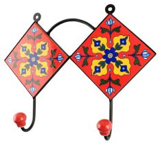 Ceramic Floral Tile Hook in Red