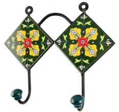 Yellow Flower Ceramic Tile Hook