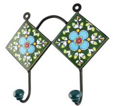 Turquoise Floral Ceramic Tile Wall Hook