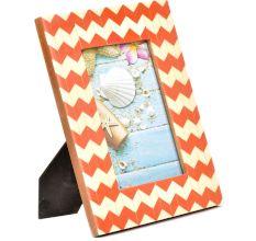 Orange White Chevron Geometric Design  Photo Frame