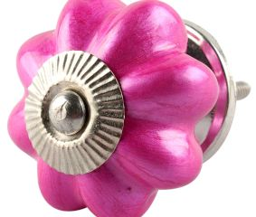 Solid Neon Pink Ceramic Melon Drawer Knob Online