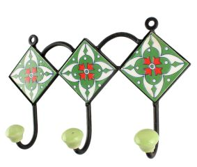 Green Ceramic Floral Tile Hook Online