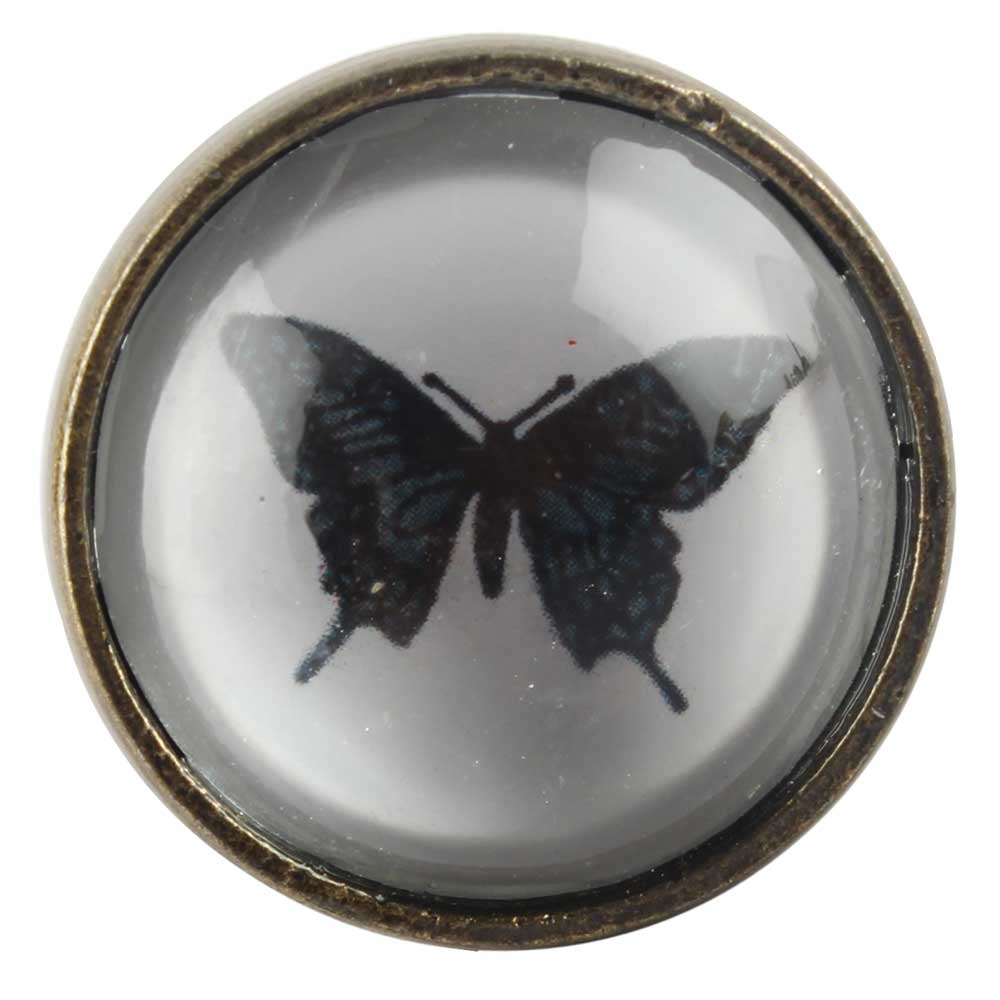 Butterfly Inside Glass And Metal Wine Stopper