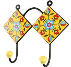 Yellow Ceramic Tiny Flower Tile Wall Hook