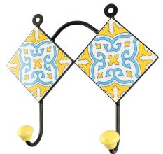 Yellow With Turquoise Floral Ceramic Tile Wall Hook