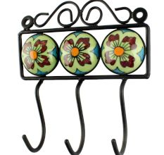 Lime Green Floral Ceramic Tile Hook Online
