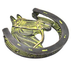 Brass Horse Shoe Door Knocker With Green patina
