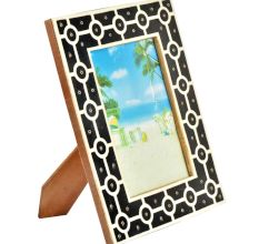 Handmade Bone Inlay Photo Frame Black