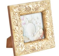 Vintage Wooden Photo Frame With Engraved Leaves Pattern