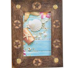 Flower Embossed Wooden Photo Frame