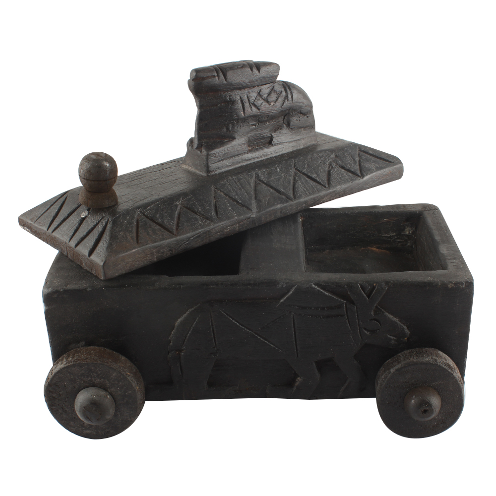 Hand Carved Indian Nandi Wooden Spice Box