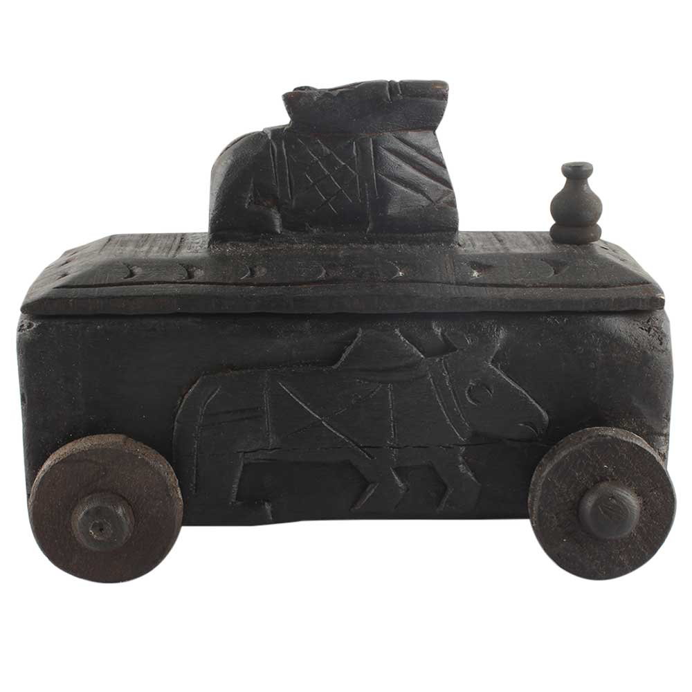 Carved Vintage Handcrafted Old Nandi Wooden Spice Box
