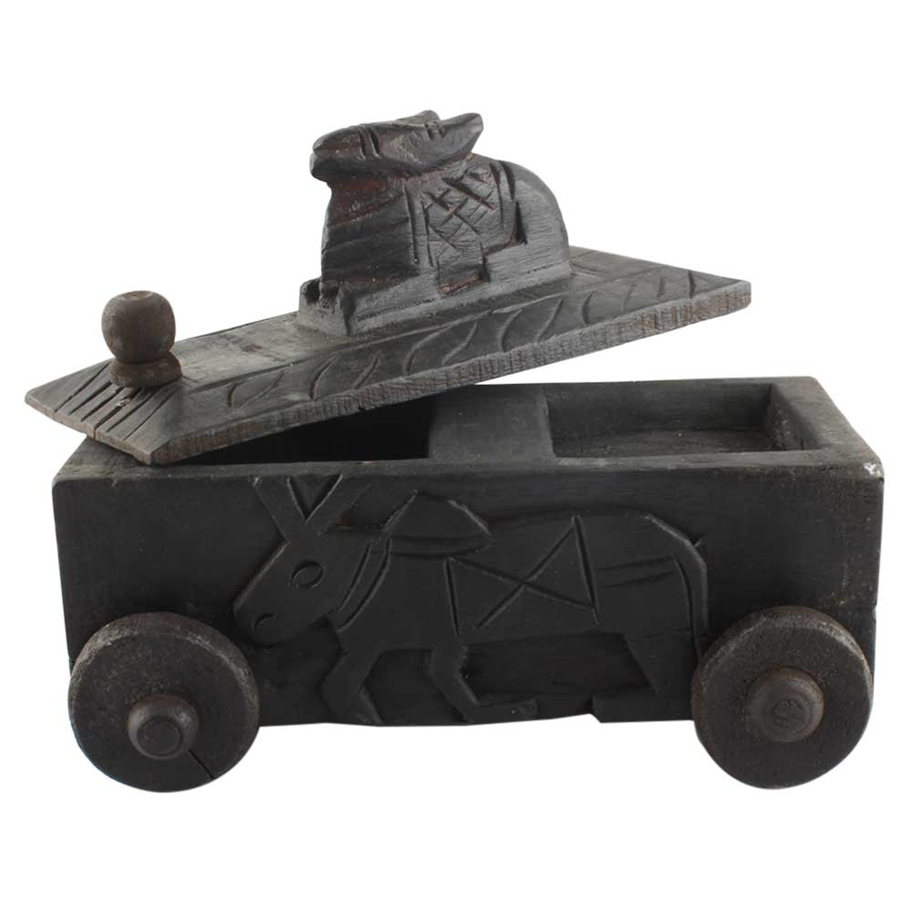 Handcrafted Old Nandi Wooden Box  With Wheels For Storage