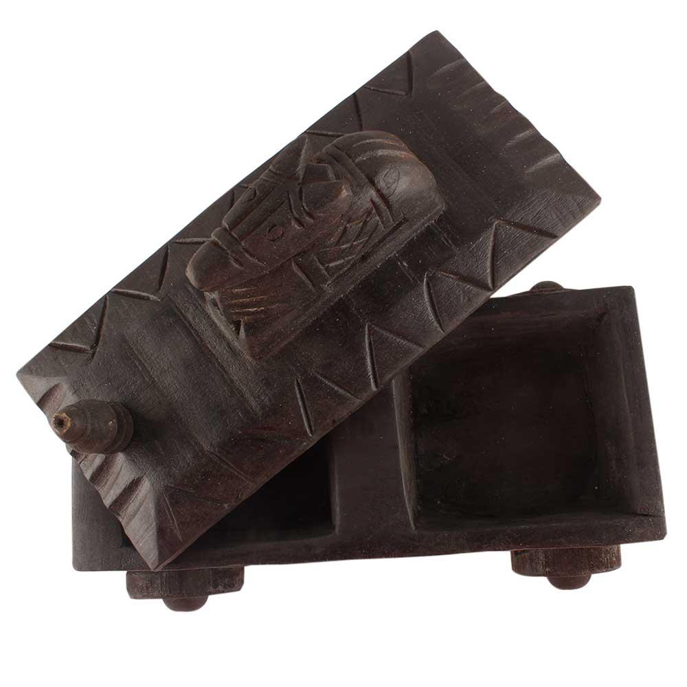 Old Nandi Wooden Box Indian Handicraft