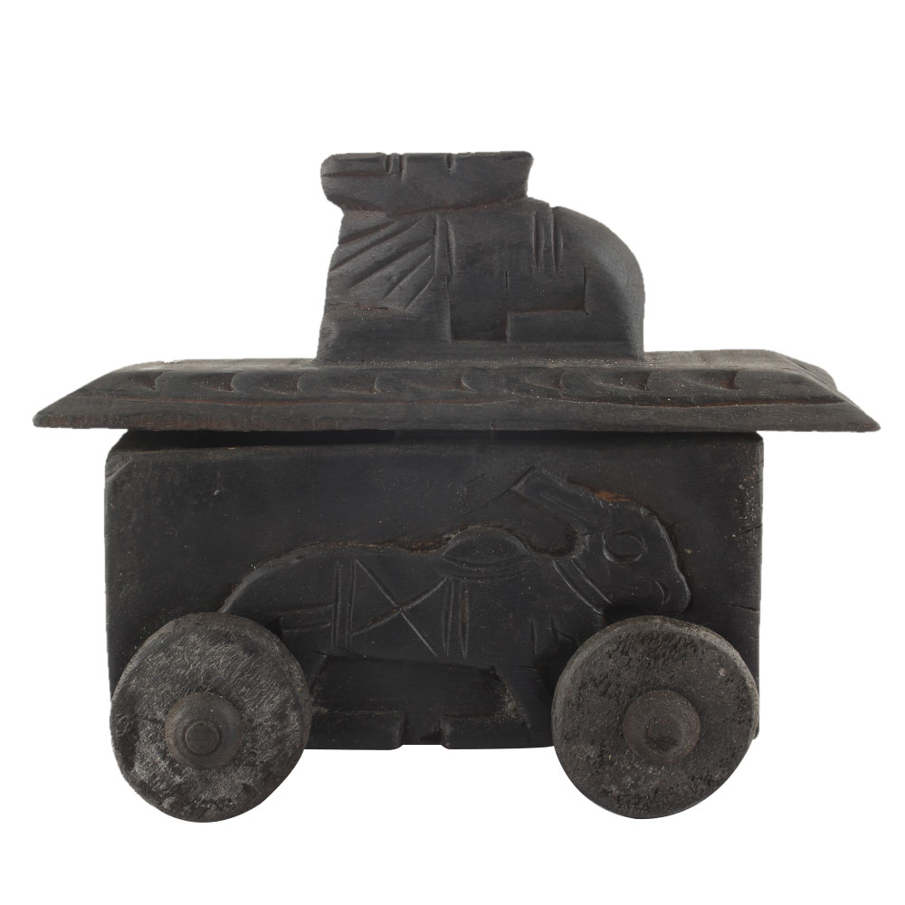 Handcrafted Old Nandi Wooden Box For Storage Spice Box