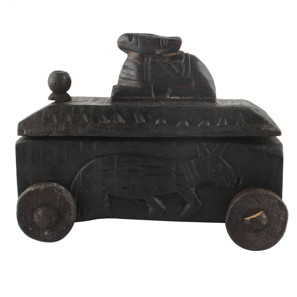 Handcrafted Old Nandi Wooden Box For Storage Masala Dabba Spice Box