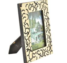 White and Black Handmade Bone Photo Frame