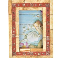 Wooden With Maroon Floral Border Photo Frame