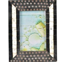Handmade Black Embellished Metallic flowers Designer Photo Frame