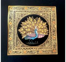 Handmade Miniature painting of Golden Dancing Peacock Combo