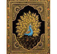 Handmade Miniature painting of Golden Dancing Peacock on silk cloth