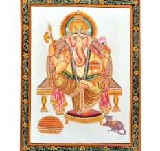 "Handmade Miniature painting of ""Lord Ganesha"" on silk cloth"