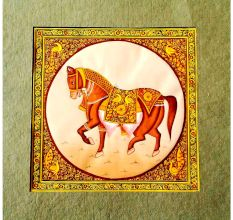 Handmade Miniature painting of Decorative Horse on silk cloth