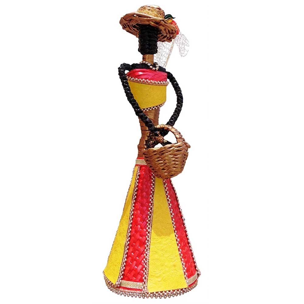 African Doll Showpiece In Red And Yellow With Holding Basket With Two Hands