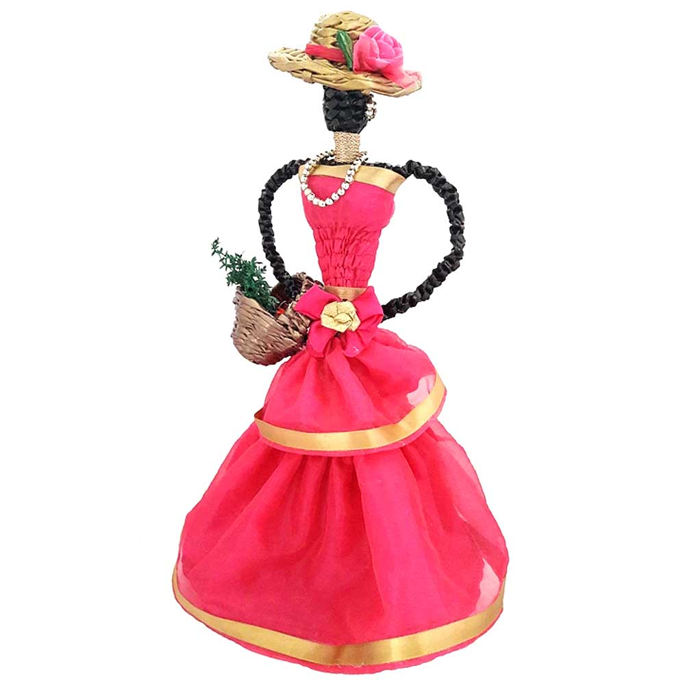 African Doll Showpiece In Dark Pink With Holding Basket By Oneside Hand