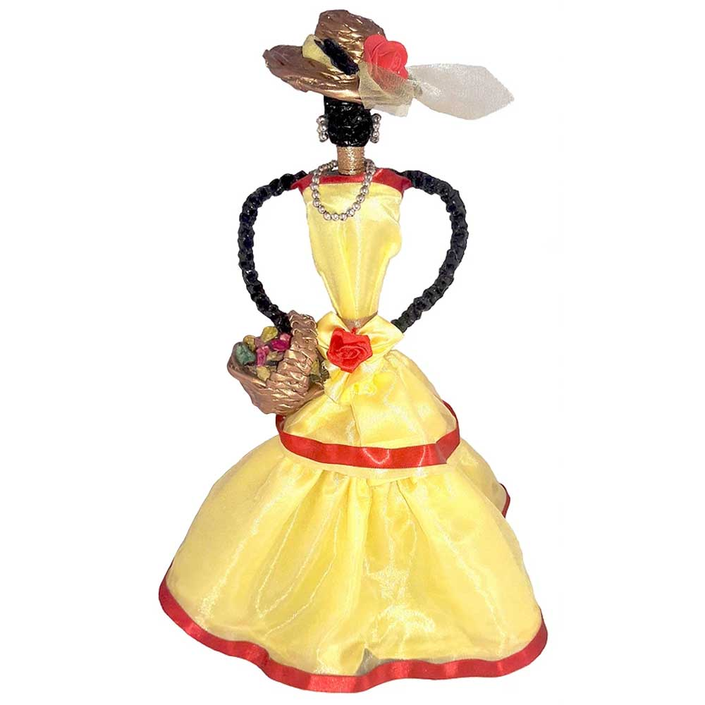 African Doll Showpiece In Yellow With Holding Basket By Oneside Hand