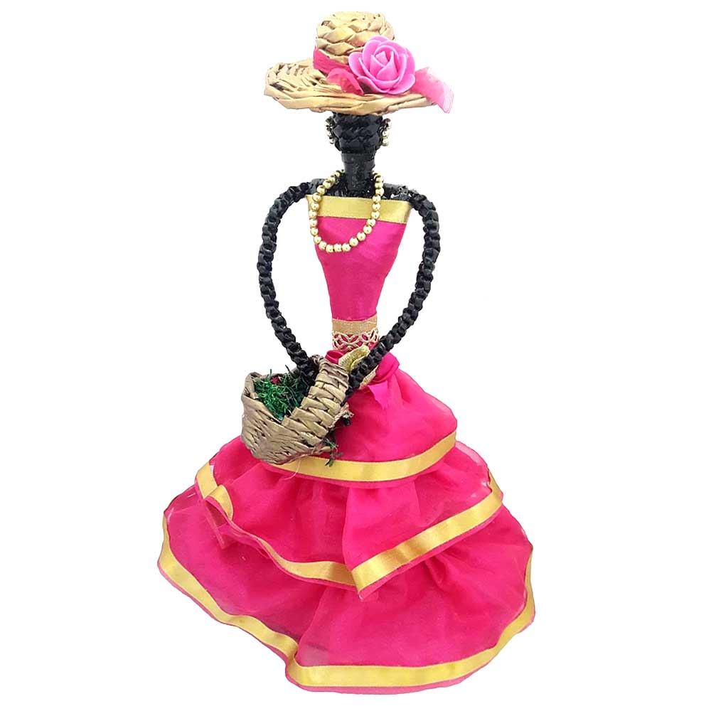 African Doll Showpiece Combination Of Pink And Golden With Holding Basket