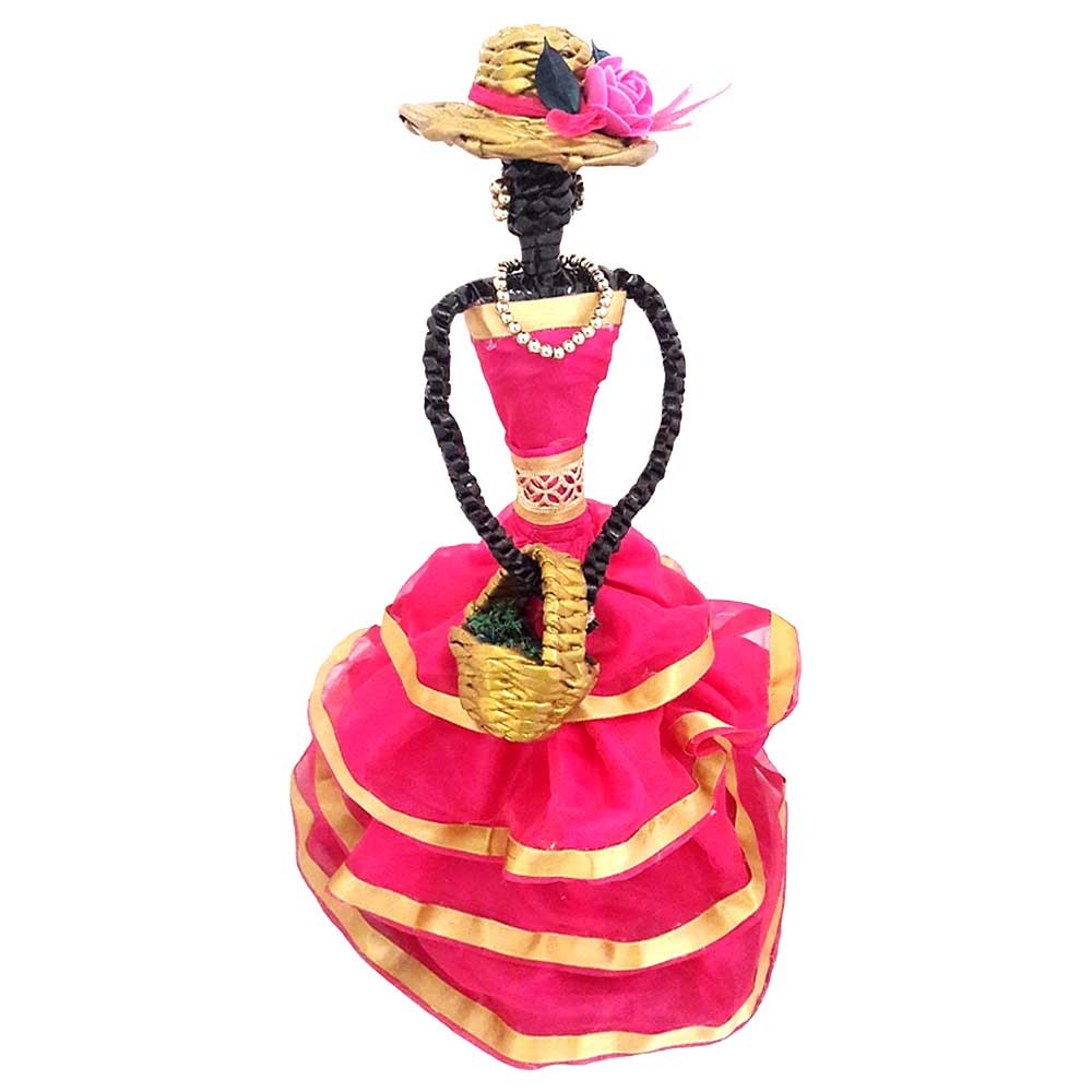 African Doll Showpiece With Four Frill in Pink Colour