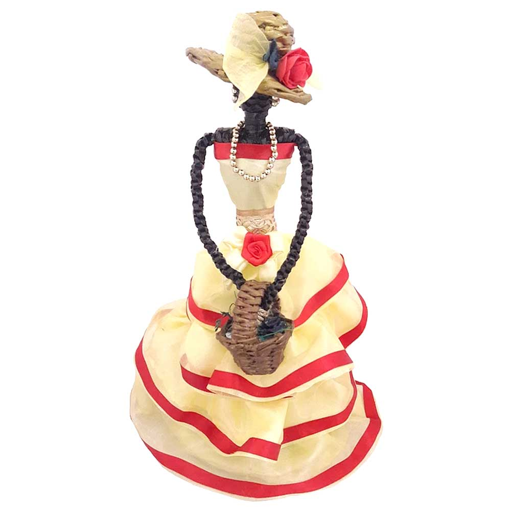 African Doll Showpiece With Four Frill in Yellow Colour