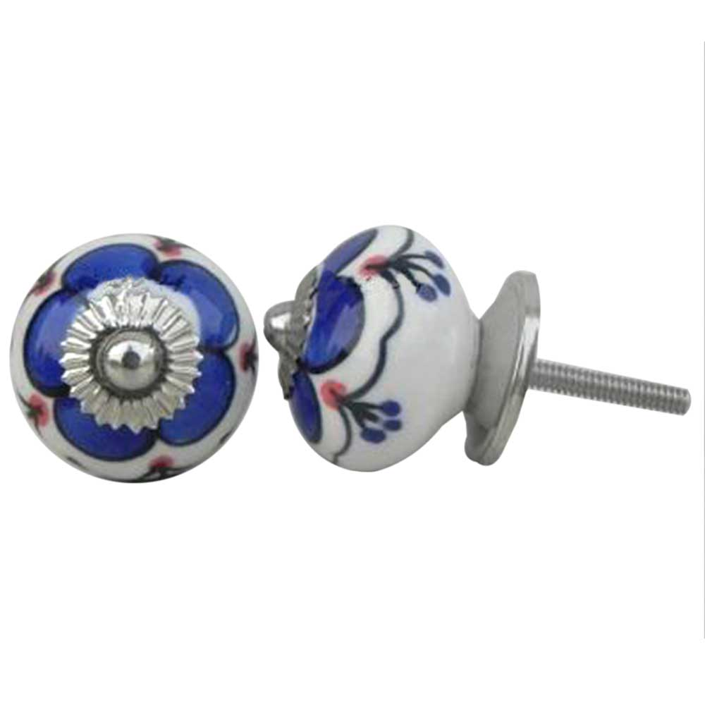 Navy Blue Canterbury Bells Ceramic Knob