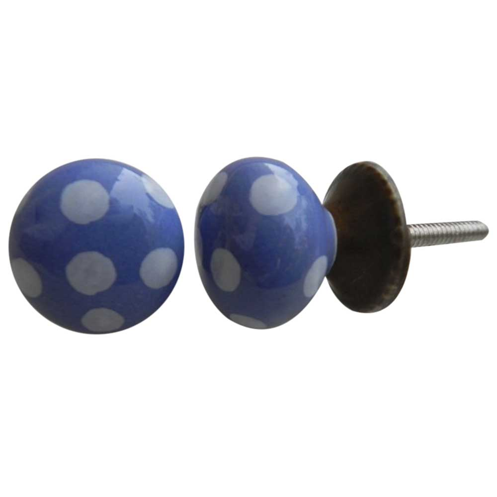 Slate Blue Ceramic Small Polka Knob