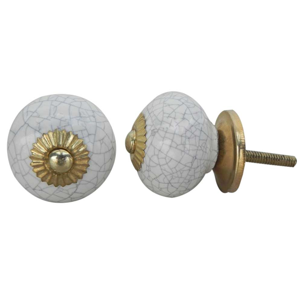 White Crackle Ceramic Cabinet Knob Online